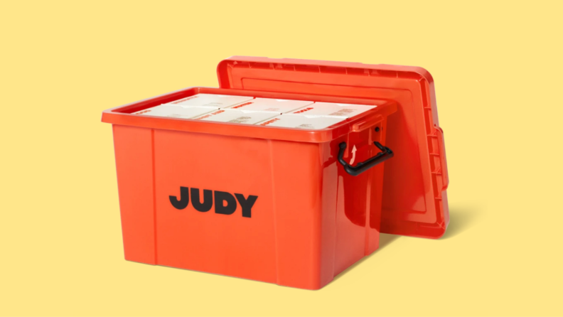 Judy Survival Safe in front of yellow background.