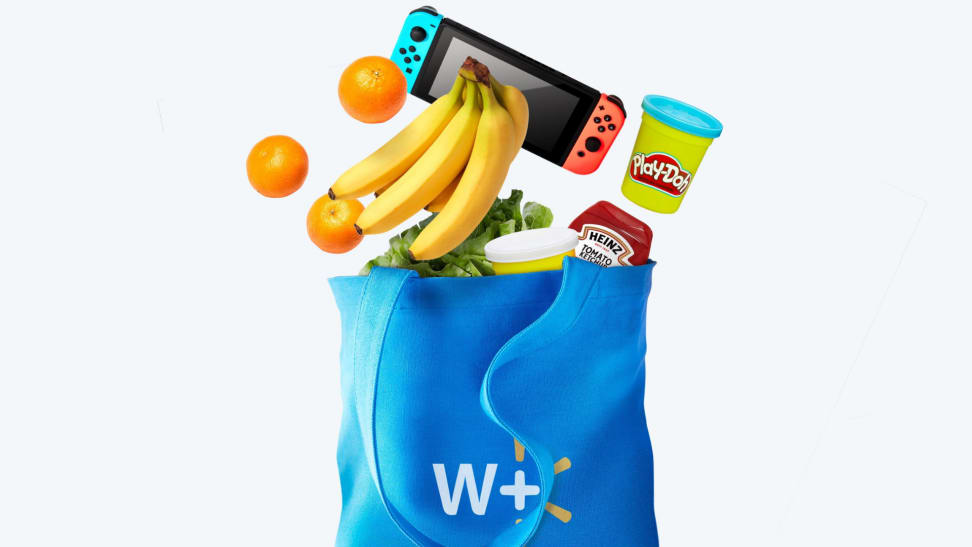 Blue Walmart+ canvas bag with groceries, electronics, and home products spilling out.