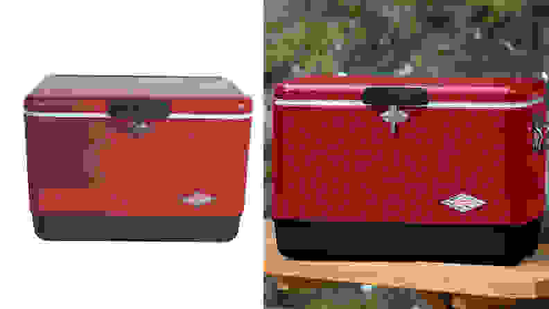 A Coleman ice cooler against a white backdrop, and another against a green forest backdrop.