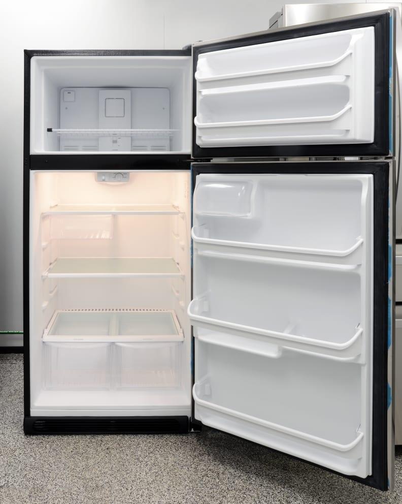 A basic shelf arrangement in the Frigidaire FFTR1821QS offers a decent amount of usable storage.