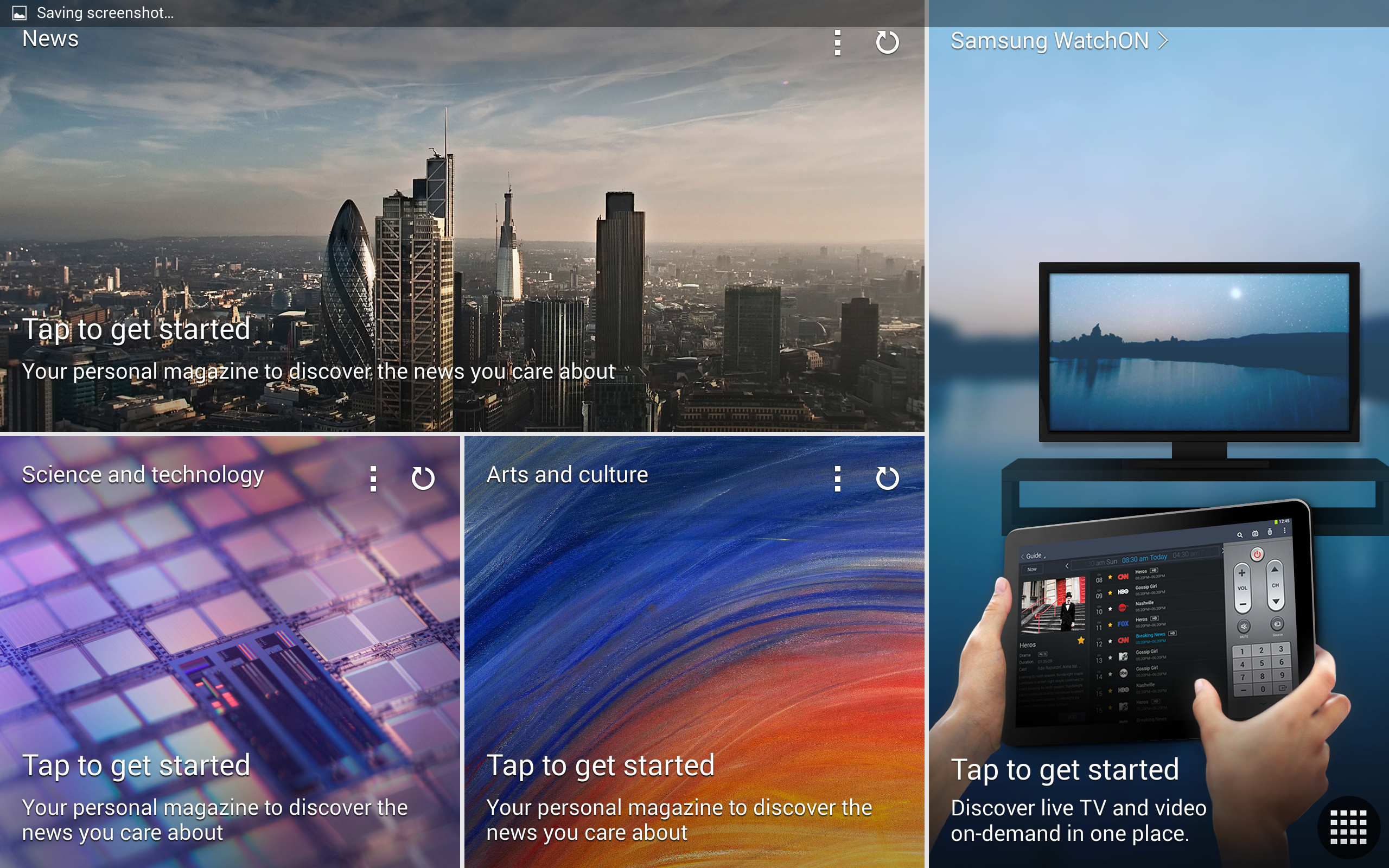A screenshot of the Samsung Galaxy Note Pro's Flipboard screen.
