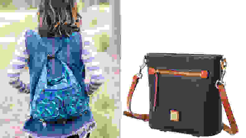 left: woman wearing blue backpack and right: blue leather handbag on white background.