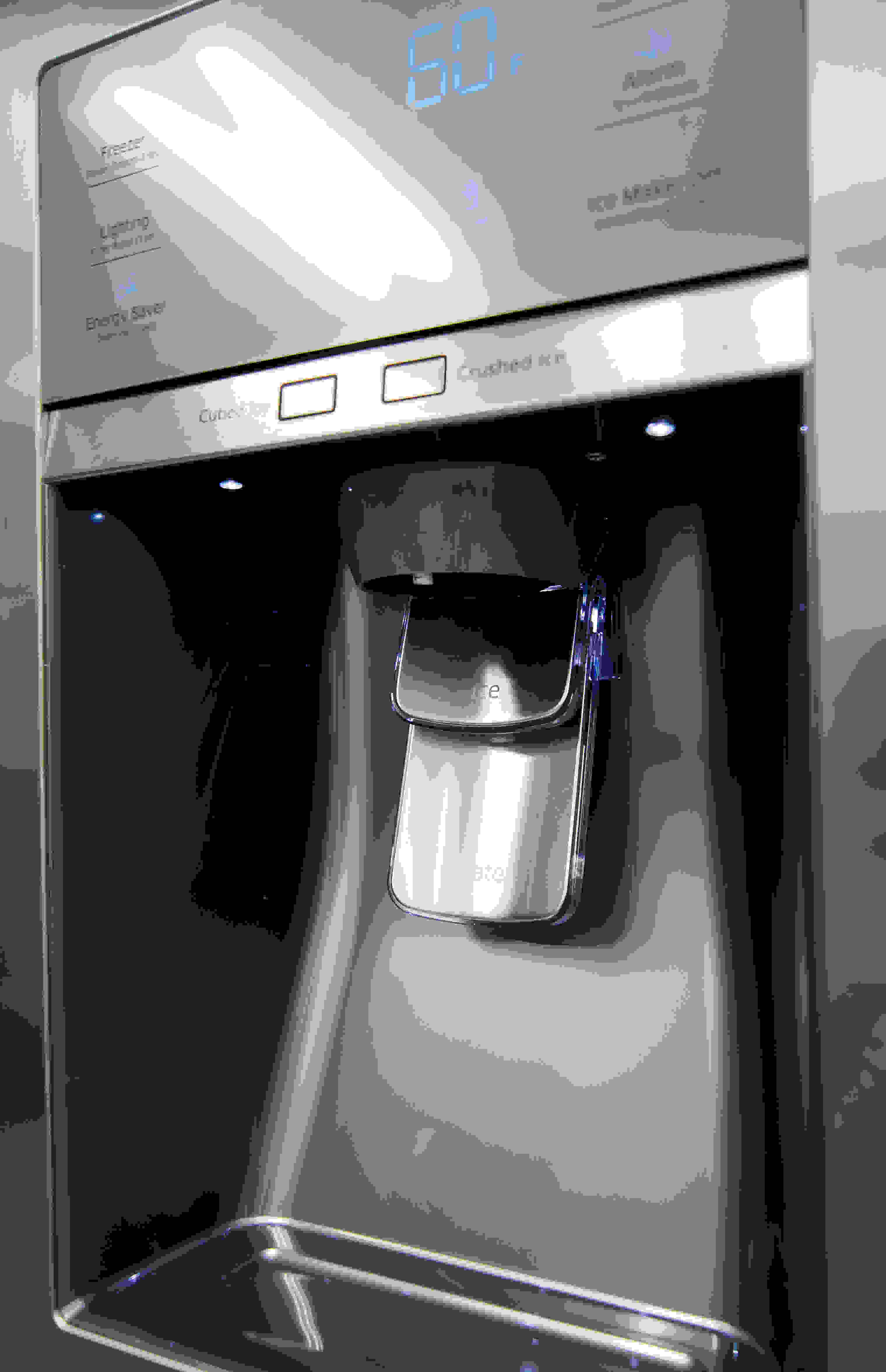 The Samsung RH29H9000SR Food Showcase's through-the-door dispenser is tall enough to fit an average drinking glass.