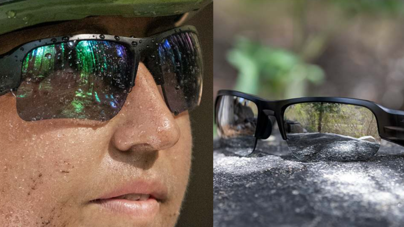 On left, person wearing sunglasses covered in dirt and water droplet. On right, Bose Frames.