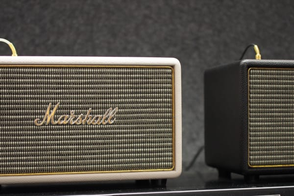 The Marshall Acton speaker works with personal devices via 3.5mm or Bluetooth.