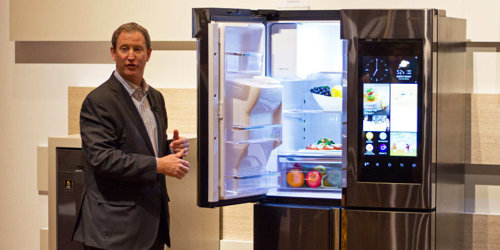 Samsung's John Herrington introduces the Family Hub refrigerator at CES 2016
