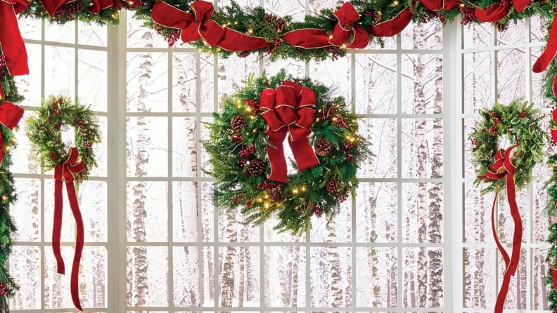 No holiday display is complete without a lush evergreen wreath!