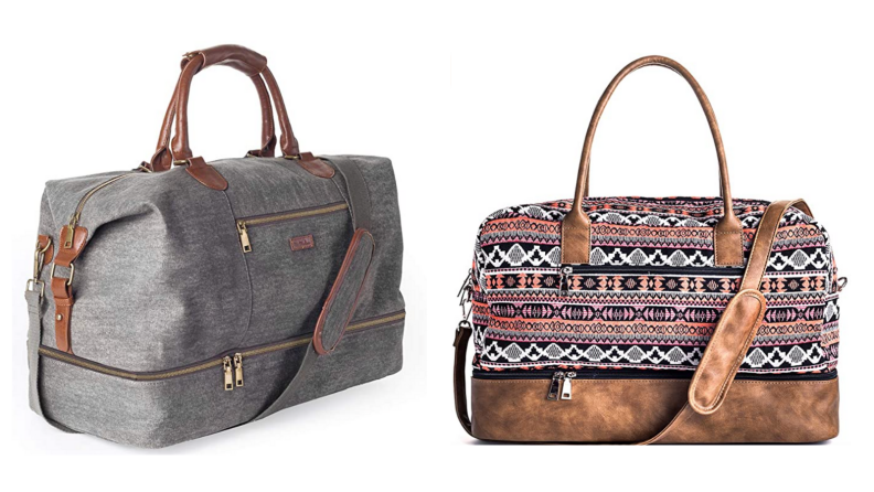Duffel bag with pattern.
