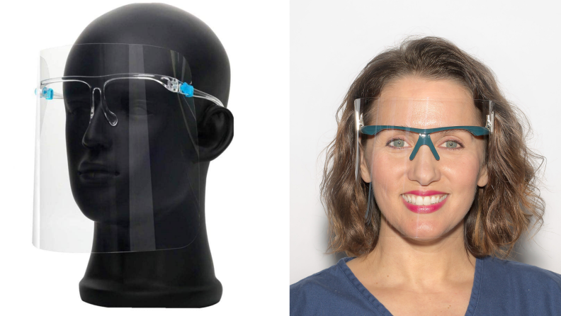 On left, black mannequin head wearing clear face shield with plastic glasses attached. On right, woman smiling wearing clip on face shield smiling.