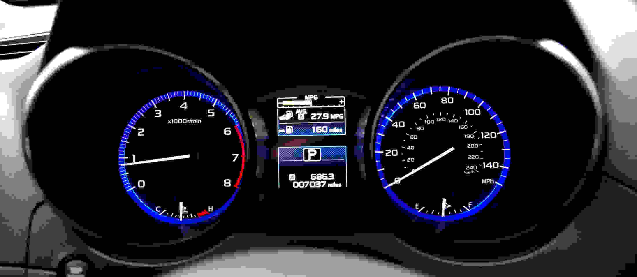 gauge cluster on the 2015 Subaru Outback