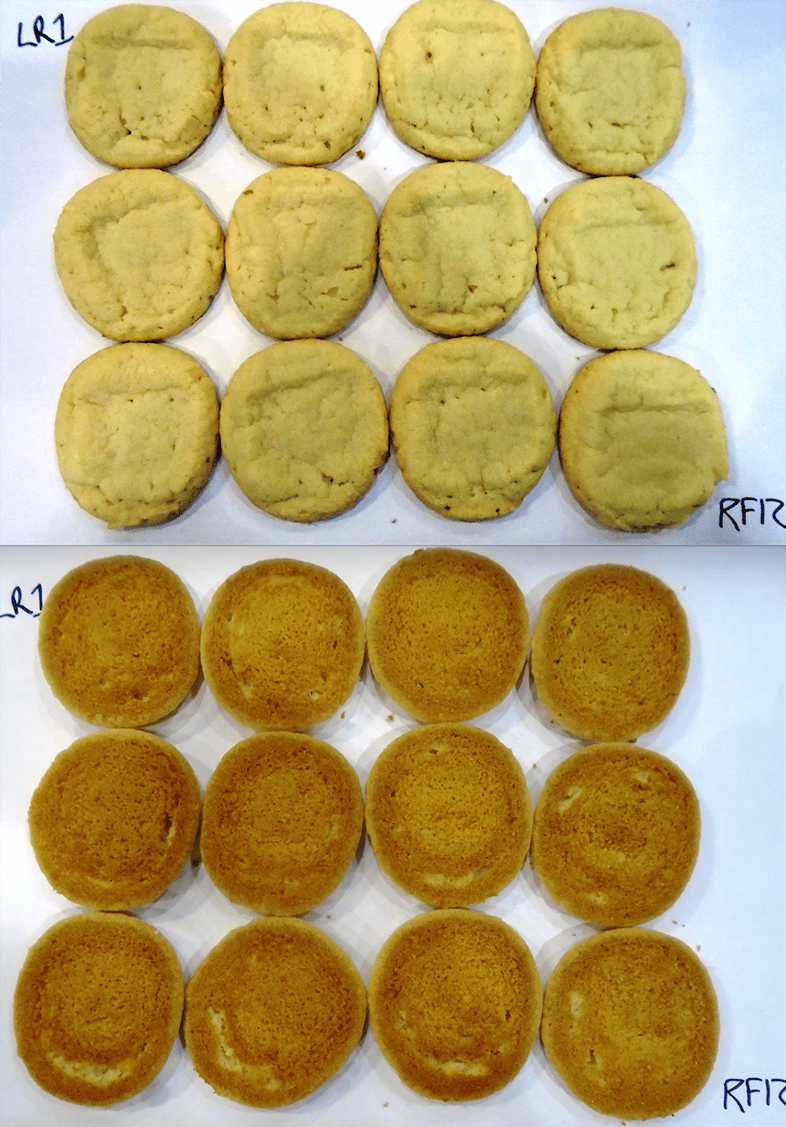 The tops and bottoms of our test cookies.