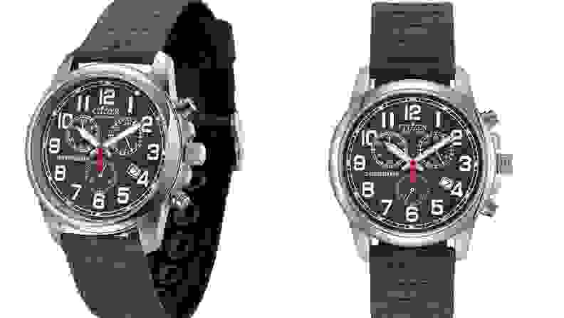 Stock image of Citizen Eco-Drive watch, The Chandler, with chronograph.