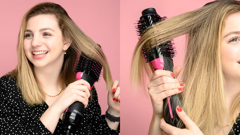 On the left: A person blow drying their hair with a dryer brush. On the right: A closeup of hair with the hair dryer brush running through it.