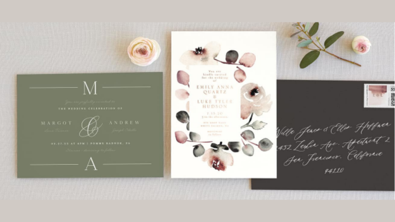 three minted invitation samples with flowers