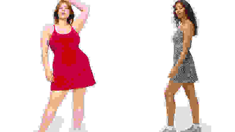models wearing red and leopard exercise dresses