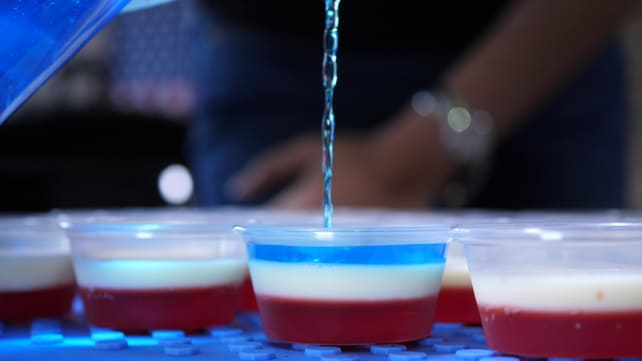 Pouring blue Jell-O