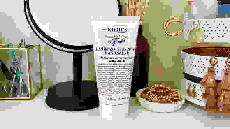 The Kiehl's Ultimate Strength Hand Salve sitting on the author's vanity.