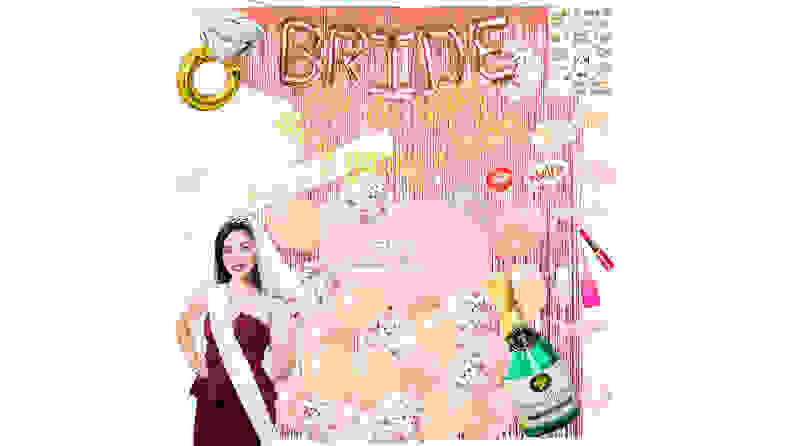 bride with bachelorette party supplies