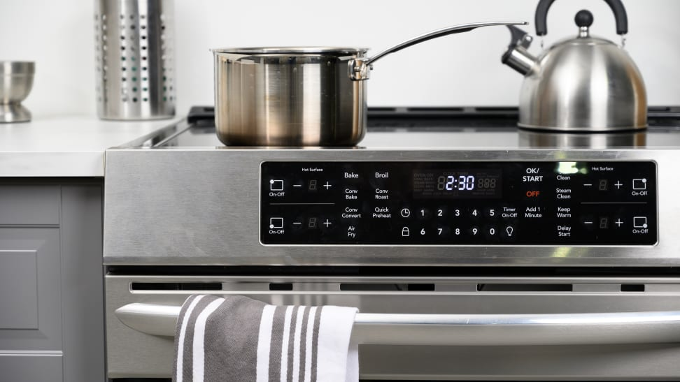 A close up of the control panel of the Frigidaire Gallery CGIH3047VF induction range.