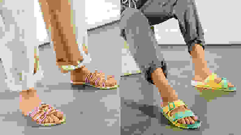 Bright colored sandals on women's feet.
