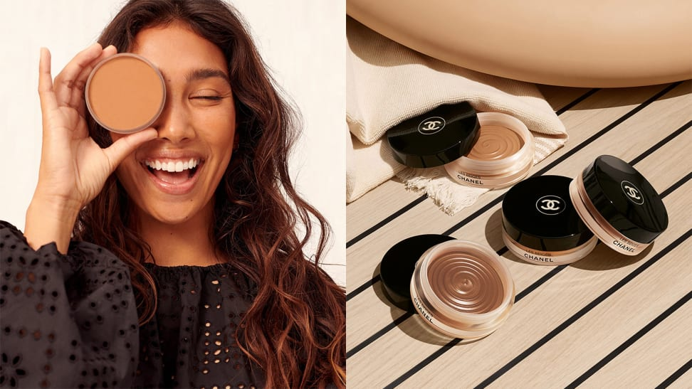 On the left: A person smiles and closes their eyes while holding the Saie cream bronzer in front of one of their eyes. On the right: Four Chanel cream bronzers sit in the sun on a tan surface.