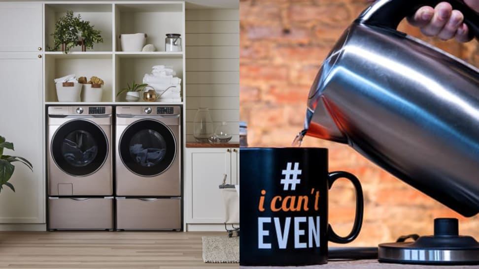 Left: Samsung washer and dryer combo. Right: Electric kettle pouring water into a mug.