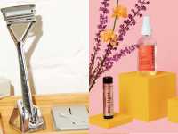 Metal razor and skincare products.