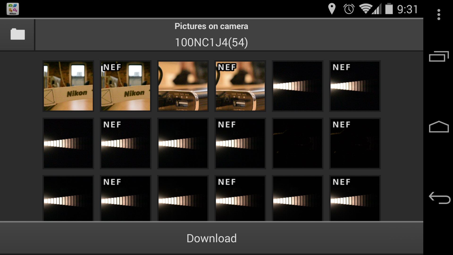A screenshot of the Nikon 1 J4's gallery screen in the Wireless Mobile Utility app.