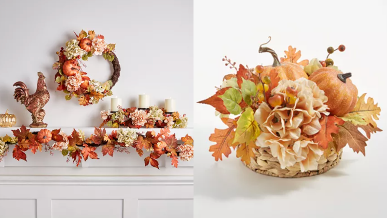 Left: fall wreath, fall garland, fall candles on a hearth next to a rooster decor piece, right: close-up of fall centerpiece