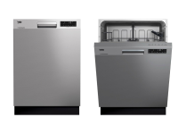 Two stainless steel refrigerators sit side by side, and the left one is slightly open