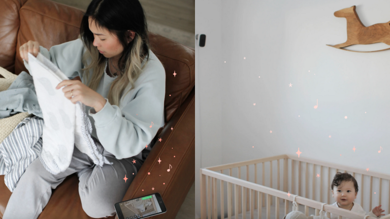 On left, young mother monitoring baby through smart phone while folding clothes on couch. On left, baby standing up in crib with Ecobee smart camera hanging from ceiling.