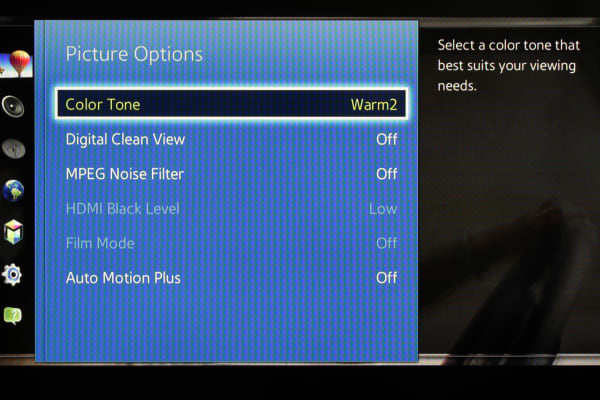 The Samsung UN40H5500's extra menu options