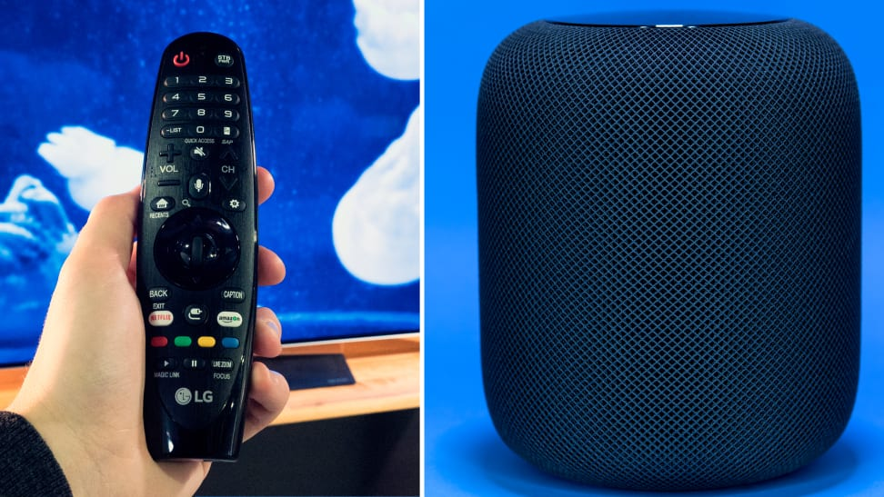 An LG OLED TV remote control and an Apple HomePod