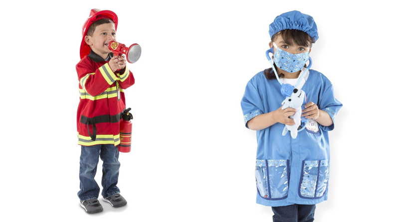 A child wearing a firefighter costume and a child wearing a doctor costume.