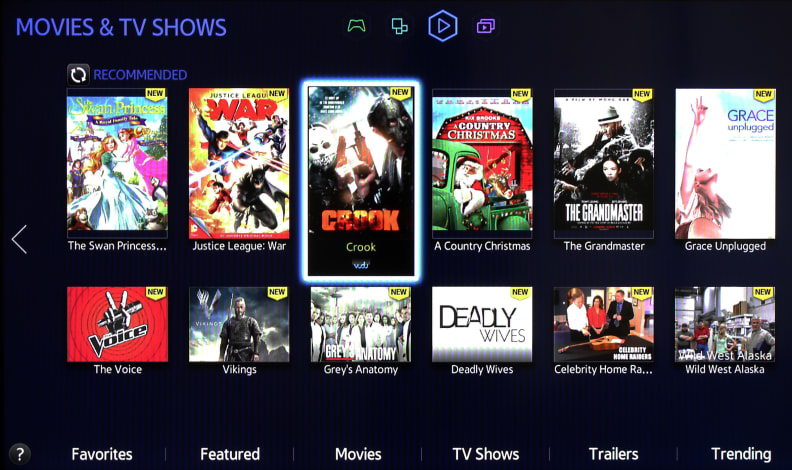 Movies and TV shows displayed in the Samsung Smart Hub