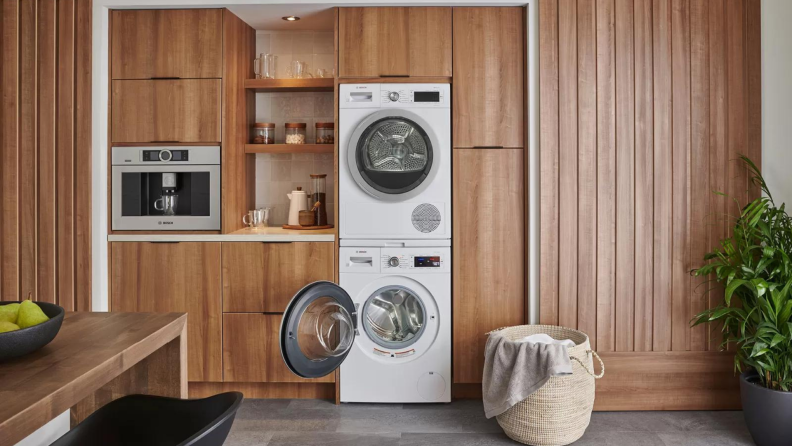 Modern washer and dryer set from Bosch in kitchen.