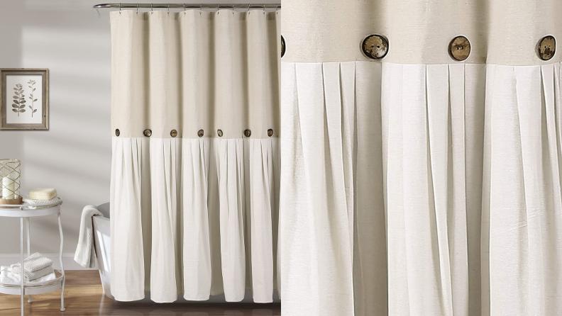 A linen shower curtain.