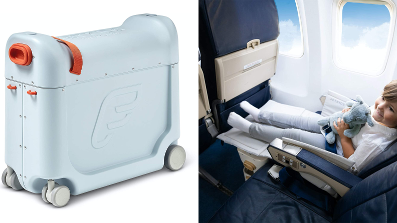 On the left: a small blue hard plastic suitcase with grey wheels. On the right: a young child in an airplane seat that looks like a bed.