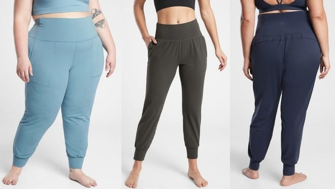 Three different people wearing Athleta leggings in different colors