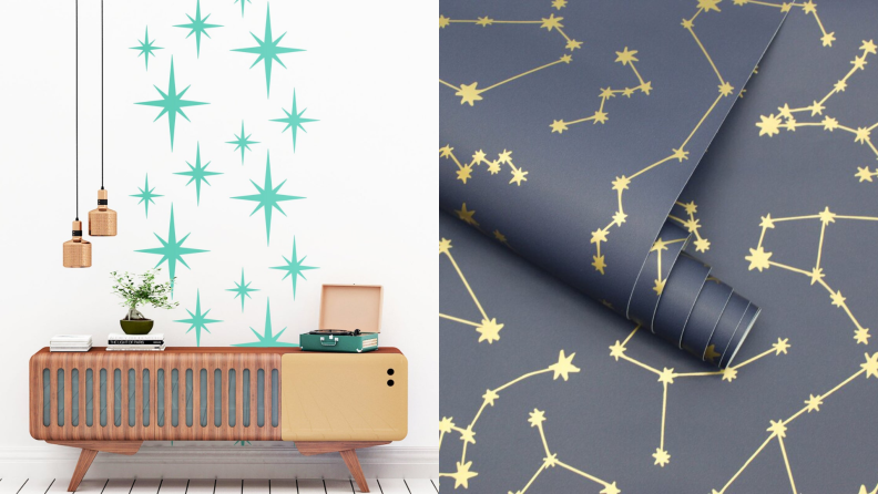 1) midcentury modern green vinyl appliques against a white wall. 2) dark blue and gold vinyl appliques.