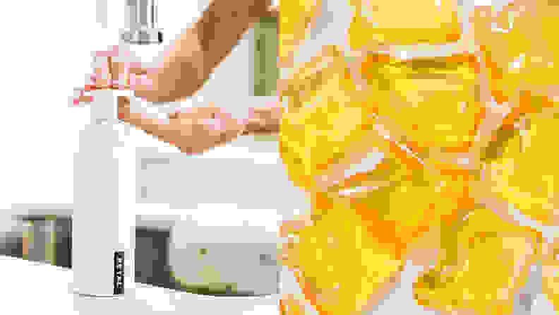 On the right: A person reaching out for a soap dispenser. On the right: Yellow refillable soap pods.