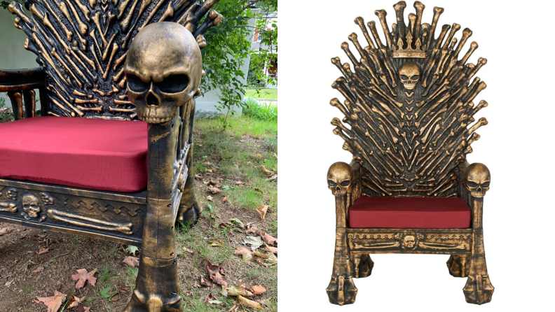 On left, close up on Bone Throne seat cushion and gold leg. On right, gold and plastic Bone Throne.