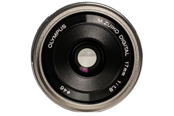 Front view of the Olympus M.Zuiko 17mm f/1.8.