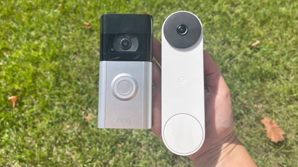 Ring Video Doorbell 4 next to the Google Nest Doorbell (battery)