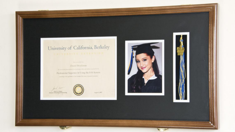 A diploma in a frame