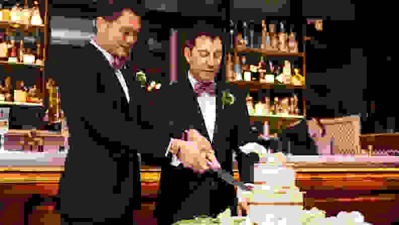 Wedding concepts, getting ready for the big day. Homosexual couple marring in Barcelona.