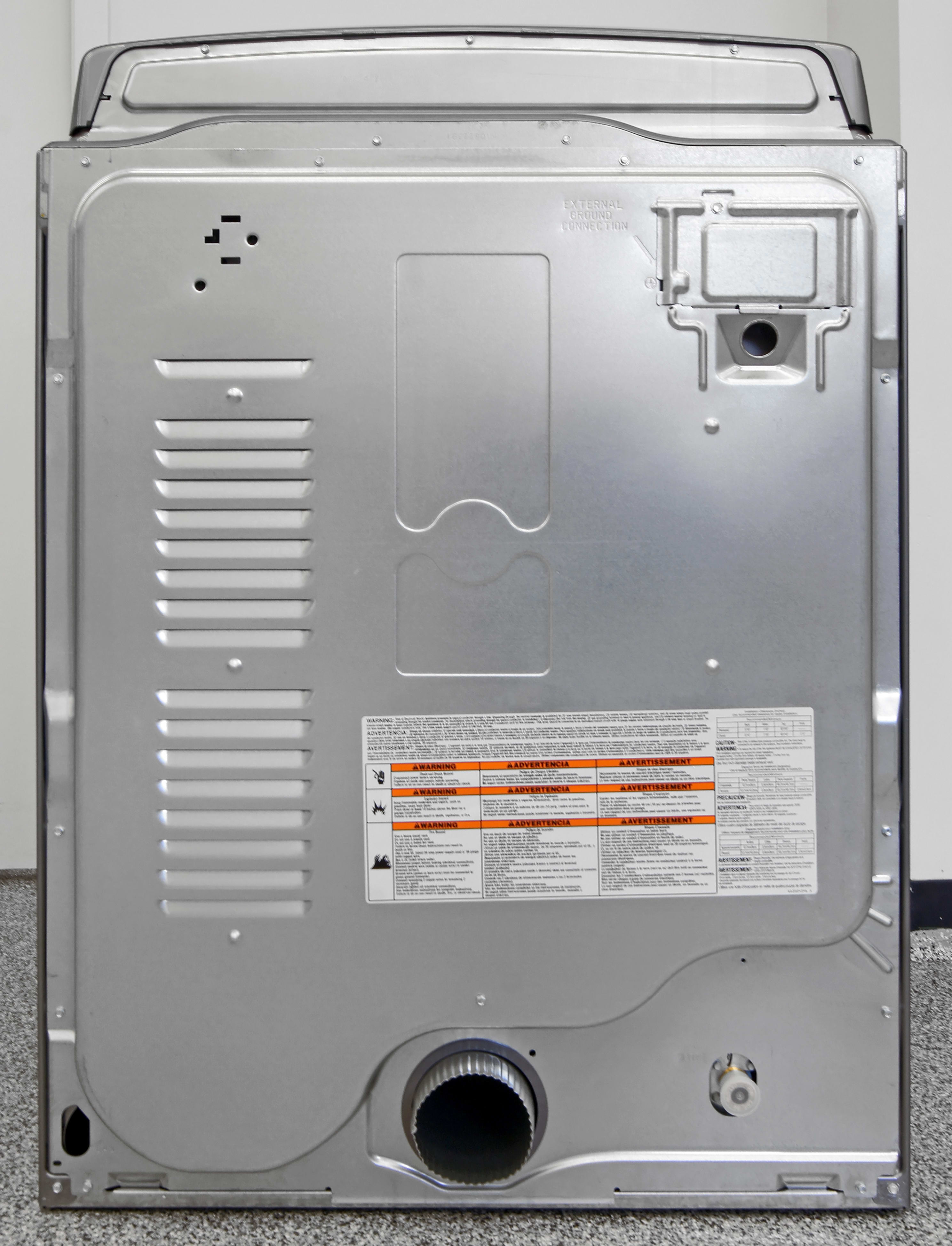 A traditional vented hookup is found in the back of the Whirlpool Cabrio WED8500DC, along with the water input for steam features.