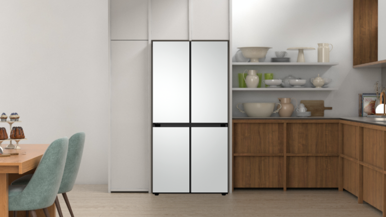 An image of the Bespoke fridge in a modern kitchen with its base colors in view.