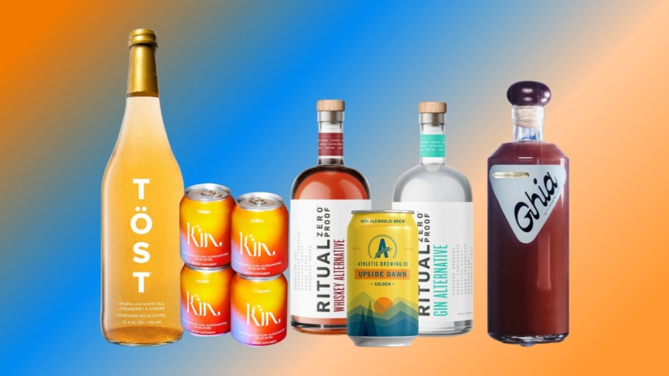 Non-alcoholic wine, mixers, beer, spirits, and cocktails are arranged in a row over a colorful blue and orange gradient background.