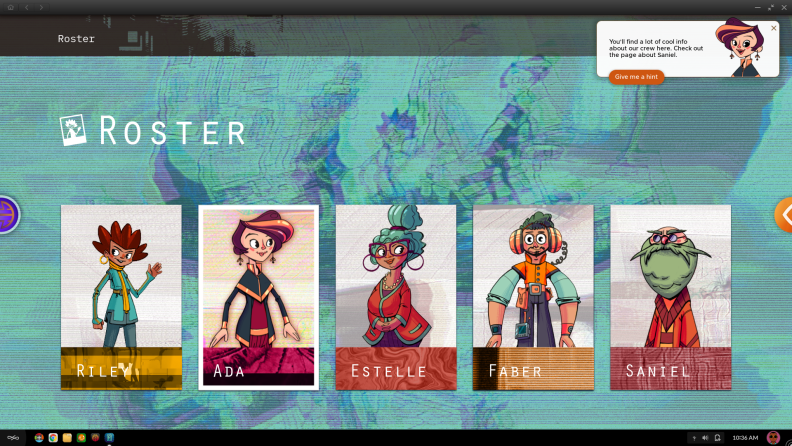 Meet Ada, Riley, Faber, Saniel, and Estelle, who will be your guide as you explore the Hack environment.